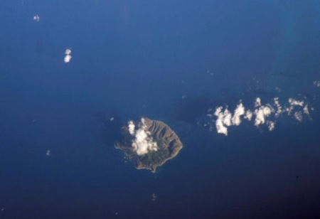 The Dutch Caribbean island of Saba, from above.  I am wishing myself there NOW.