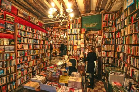 Inside Shakespeare & Co. bookstore in Paris