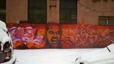 Shining graffiti in Red Hook, Brooklyn.