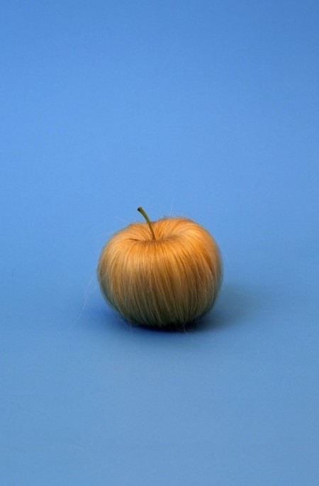 An apple, made of hair!